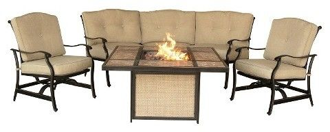 Hanover Outdoor Furniture Traditions 4 Pc Outdoor Lounge Set with Tile-top Fire Pit