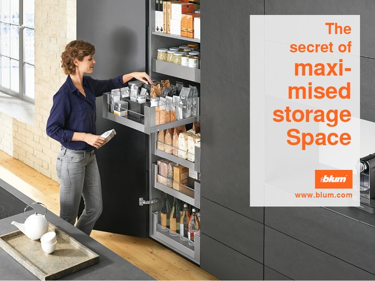 The pantry idea SPACE TOWER gets the most out of existing storage space. Each level can be filled with up to 70 kg and provides easy access from 3 sides. Practical cabinet solutions and much more on www.blum.com/ideas. Please repin!