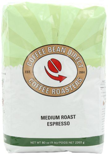 Coffee Bean Direct Medium Roast Espresso, Whole Bean Coffee, 5-Pound Bag - http://www.teacoffeestore.com/coffee-bean-direct-medium-roast-espresso-whole-bean-coffee-5-pound-bag/