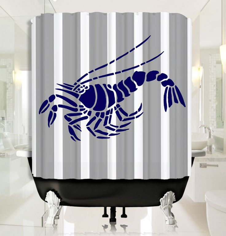 Deep Blue Lobster  with Grey Stripe Shower Curtain