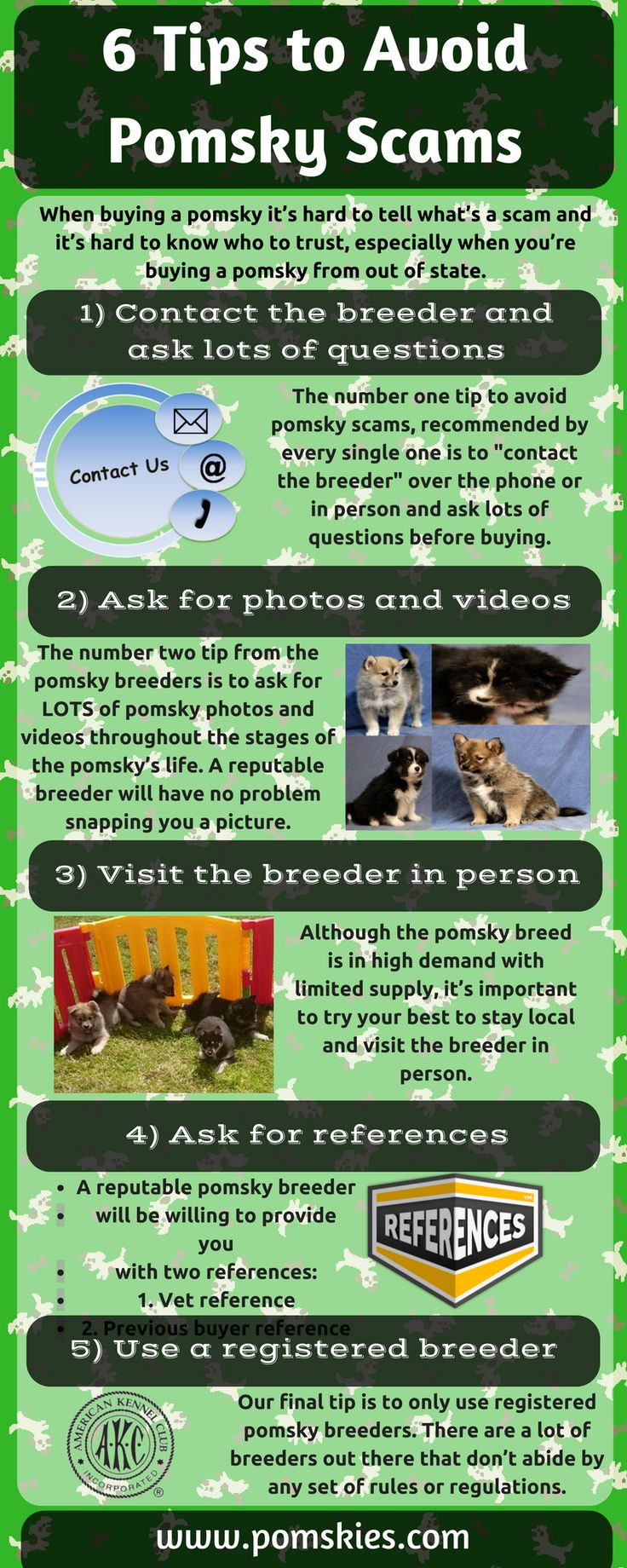 Nowadays, scammers are everywhere. So, you always think to avoid and protect yourself from scammers. There are many scammers who generate fake #Pomsky breeder information and take your money. In this Infographic, I have listed five tips to avoid Pomsky scams. http://www.pomskies.com/are-pomskies-real/