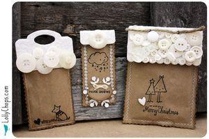 paper, felt & bottoms: Decor Gifts Packaging, Brown Paper Bags, Gifts Bags, Minis Bags, Gifts Wraps, Christmas Treats, Cards Papercraft, Buttons, Homemade Bags