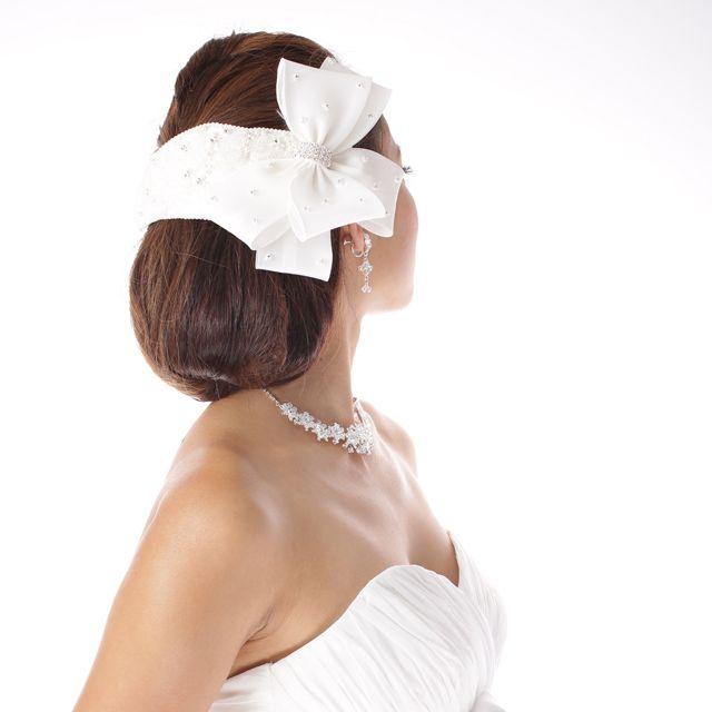 【ヘッドドレス】【ボンネ】レースのリボンボンネ[ヘッドドレス]/ウェディングアクセサリー~mekku~【メック】