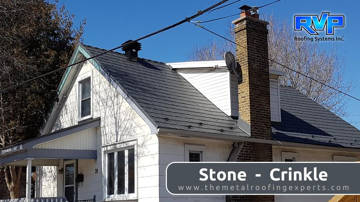 This quaint home makes a statement with its Stone Crinkle roof. Stone Crinkle is a popular choice and a great contrast to the white siding of this home.  For more looks, visit us at www.rvp-roofing.com. Don't forget to like and pin! #RVP #highstrengthsteel #permanentroof #armadura #stonecrinkle