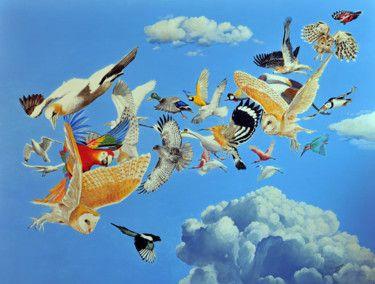 BIRDS painting tempera eggs  60x80cm. by VALENTINO CAMILETTI
