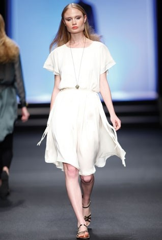 Sam Cox walking down the ramp for eb + am at the annual SA Fashion week, held at the Crowne Plaza Hotel in Rosebank, JHB