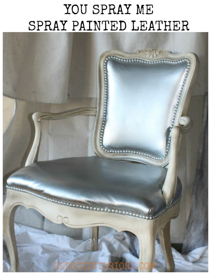 Spray it Don't Say it. Spray Paint Leather that is. Did you know you can spray paint leather??? This Silver Chair once resided in a woman's house who sadly, smoked three packs of cigarettes a day, for at least 30 years, as long as she lived in the house, with the windows shut! My neighbor …