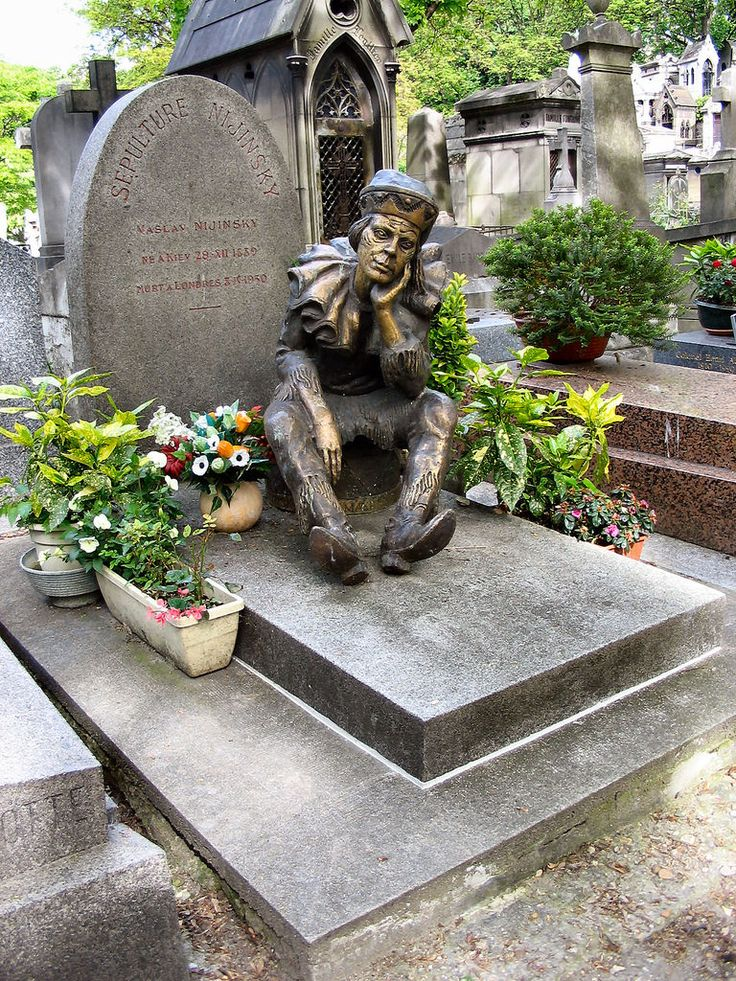 My favorite is Montmartre Cemetery (Fr: Cimetière de Montmartre) located at 37 Avenue Samson, in the 18th arrondissement of Paris, France. Many famous people are buried here. Look at this eerie video with the most incredibly elaborate tombs and crypts you will ever see! Also shown below is a photo of Russian ballet dancer Vaslav Nijinsky's tombstone.