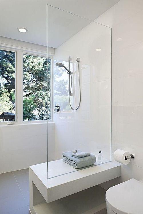 Beautiful minimalist bathroom. All white.