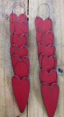 Primitive Wood Red Heart Ornaments Winter Tree Gathering (12)
