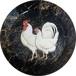 Rooster White Decoupage Platter