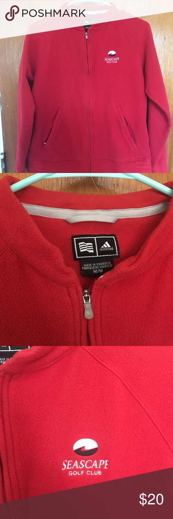 Adidas zip up fleece Red zip up adidas fleece. From seascape golf club, very soft and warm. Excellent condition! adidas Tops Sweatshirts & Hoodies