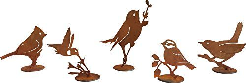 Outdoor Décor-Rustic Bird Set 7 by Rustic Birds Steel Silhouettes on Bases with Rusted Finish ** See this great product.