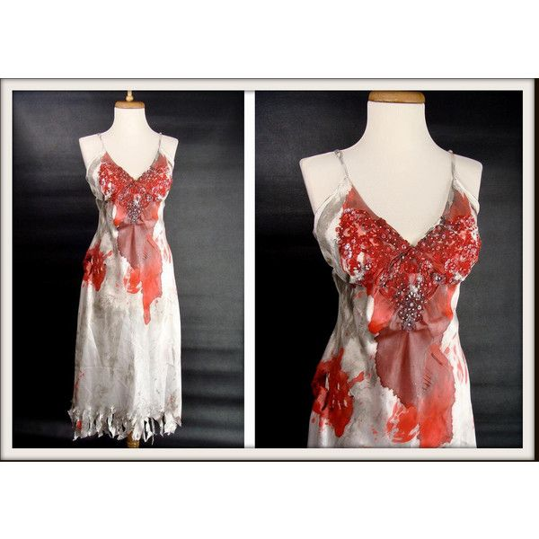 Custom Made Bloody Slip Nightgown Sexy Zombie Vampire Halloween... ($46) ❤ liked on Polyvore featuring costumes, womens vampire halloween costumes, lady vampire costume, sexy women halloween costumes, womens zombie costume and walking dead zombie costume