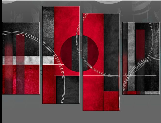 """Red black and white canvas art 