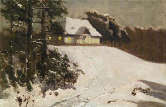 Józef Chełmoński (1849-1914), Zima. Dworek o zmierzchu - 1906/07.