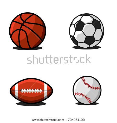 Set of balls for football or soccer, basketball, american football or rugby, baseball. Collection of sports equipment colrful illustration in cartoon style for emblem or logo design.