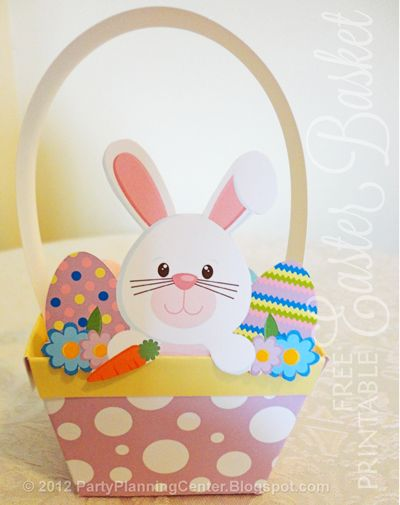 A free printable #Easter basket and Easter bunny from http://partyplanningcenter.blogspot.com/2012/03/easter-baskets.html
