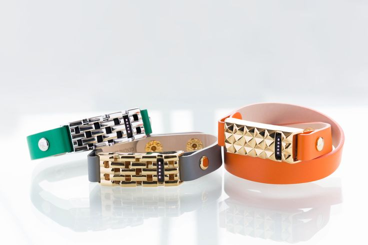Bezels & Bytes Fitbit leather jewelry: Studs and basket weave, with a bright leather band