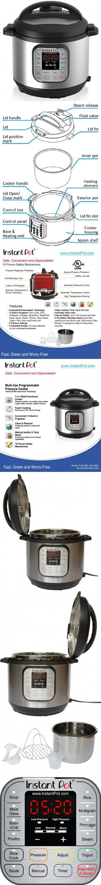 Instant Pot DUO60 7-in-1 Multi-Use Programmable Pressure Cooker, 6 Qt   Stainless Steel