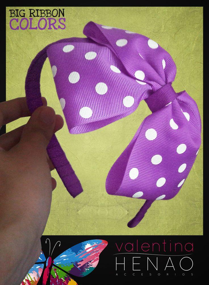 Diadema moño grande cinta pepas Lila