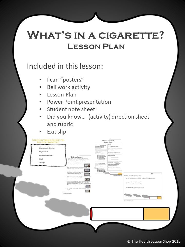 Whats In A Cigarette Lesson Plan Package Tobacco Pinterest