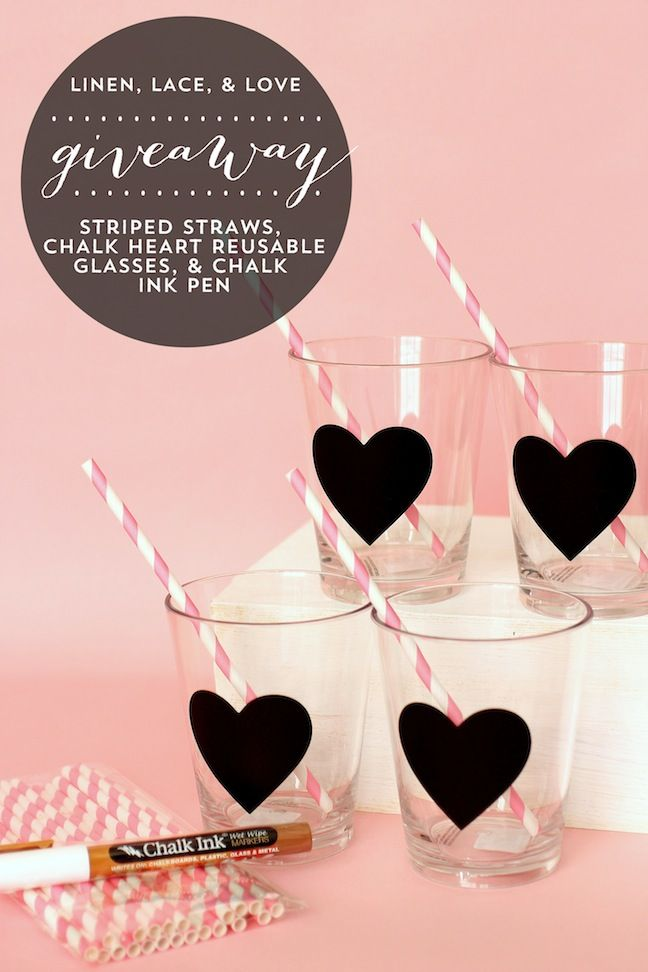 Linen, Lace, & Love: DIY Chalk Heart Glasses & Giveaway!