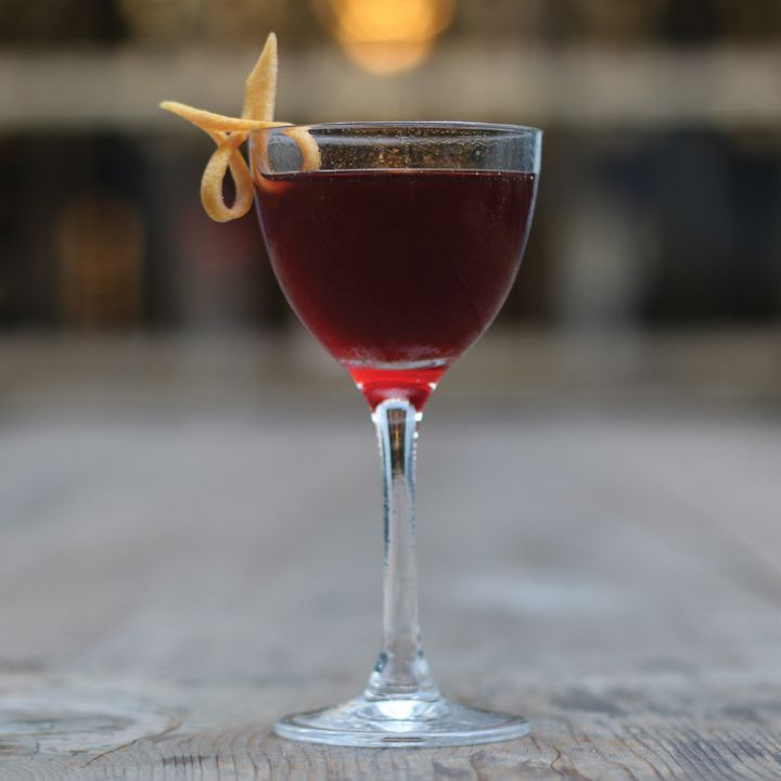 Crimson King: This drink takes the subtle flavors in a Boulevardier and adds dark cherry and bitter roasted coffee liqueur. Spicy Rittenhouse rye and Campari bring balance for a deep and complex cocktail.