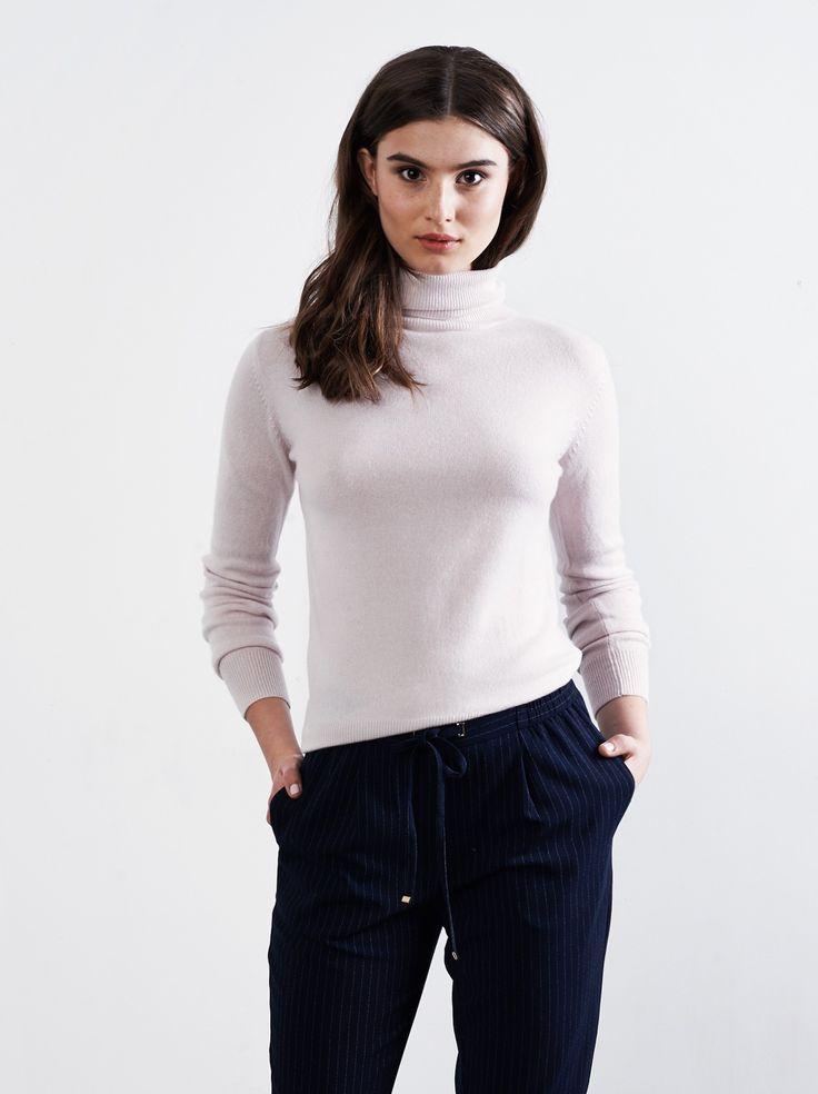 Slätstickad dampolotröja - Soft Goat - 100 % cashmere