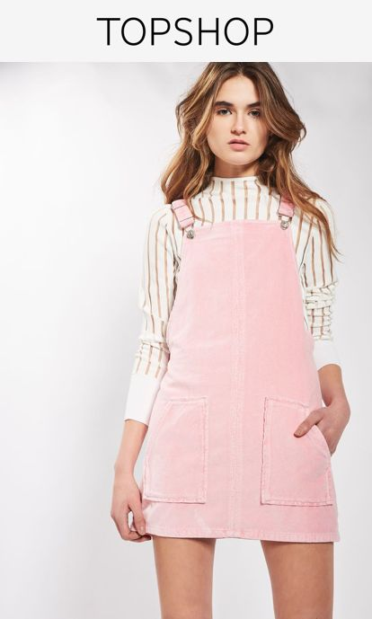 Take the basic dress silhouette to the next level. Cut with a relaxed, boxy shape, this cool velvet dress features a square neckline and comes in a pretty pink colourway. Layer over a long sleeve knitted for a total 90's feel.