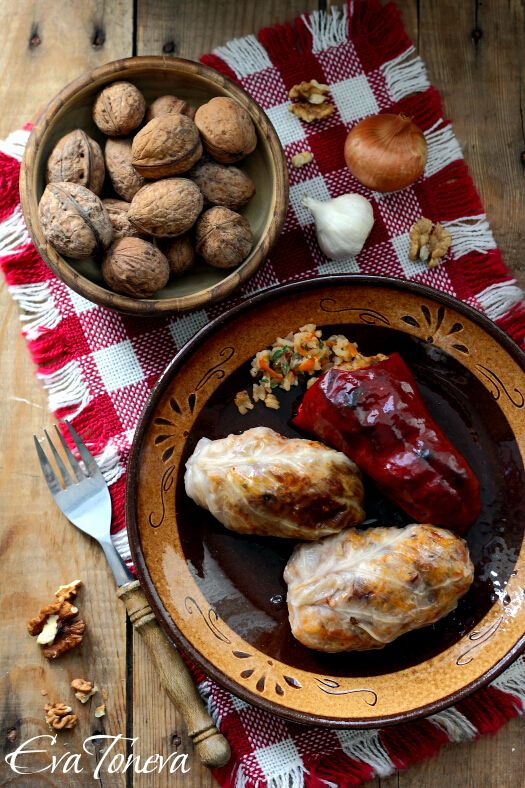 Vegan stuffed cabbage leaves with rice and nuts