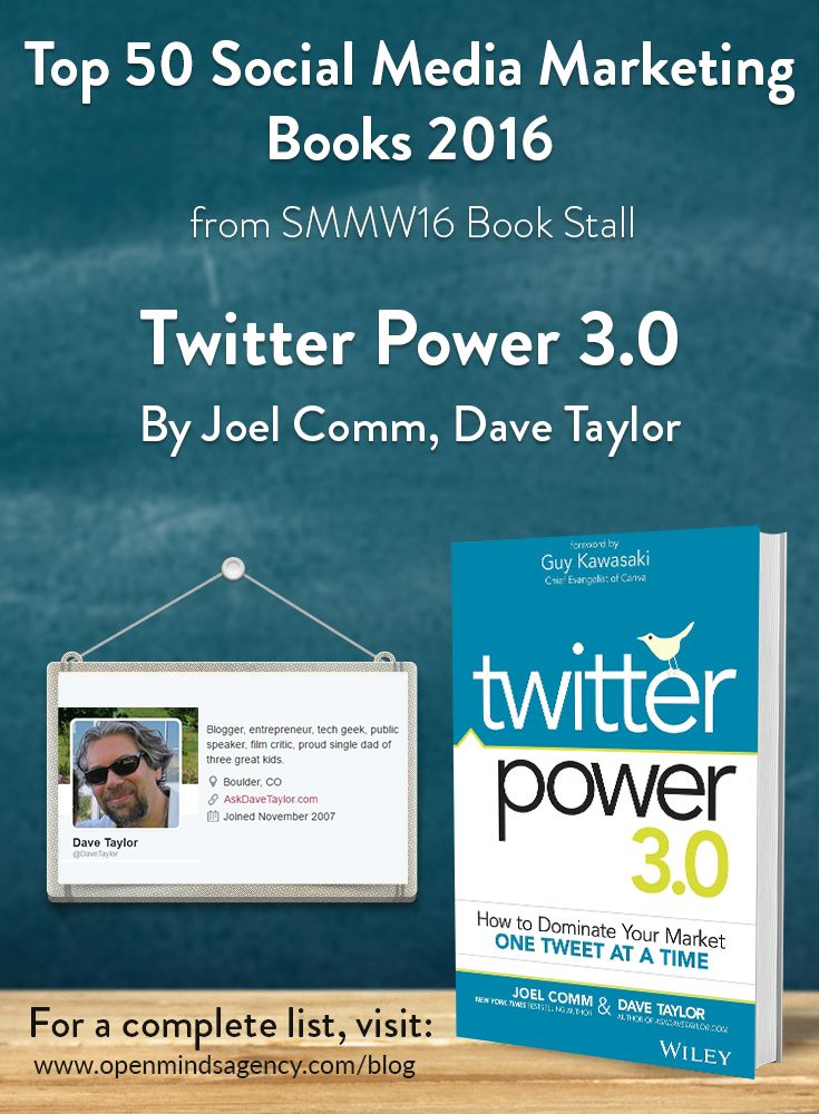 Top 50 Social Media Marketing Books 2016 - from SMMW16 Book Stall   Twitter Power 3.0 - Dave Taylor and Joel Comm   For the complete list visit, [Click on image]   #omagency #smmw16 #books #davetaylor #joelcomm