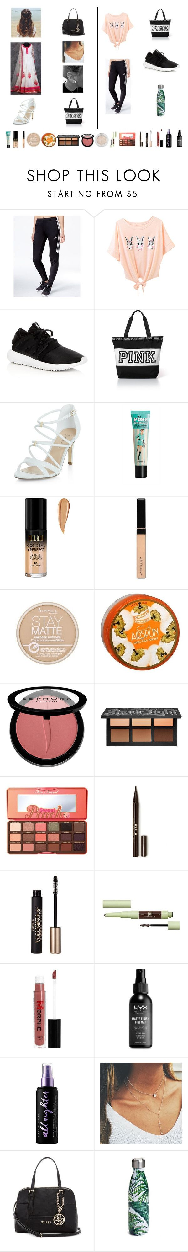 """""""Untitled #479"""" by riley0803 ❤ liked on Polyvore featuring adidas, New Look, Maybelline, Rimmel, Coty, Sephora Collection, Kat Von D, Too Faced Cosmetics, Stila and L'Oréal Paris"""