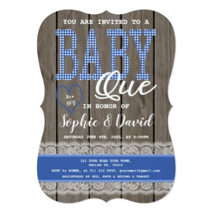 Rustic Blue Gingham Wood Boy Baby Shower BBQ Card - baby gifts child new born gift idea diy cyo special unique design