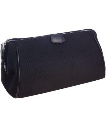 Hermes Black Cotton Large Cosmetic Bag