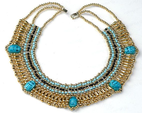 Egyptian Queen Cleopatra Necklace 5 Scarabs Halloween by thenile, $7.50