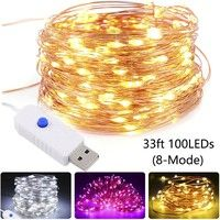 Wish | USB LED Copper Wire String Fairy Light Strip Lamp Xmas Party Waterproof 16.4ft 50 LEDs / 33ft 100LEDs Holiday Seasonal D cor (8-modes)