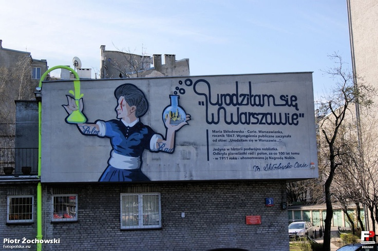 Maria Skłodowska-Curie graffiti in Warsaw, Poland