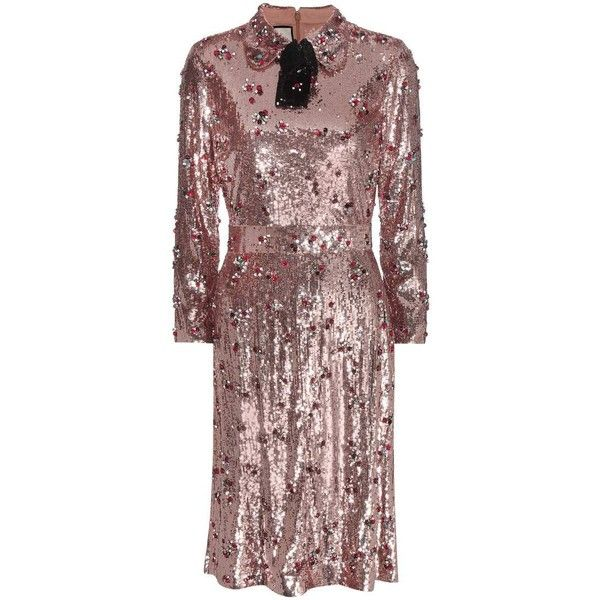 Gucci Sequin-Embellished Dress (€12.480) ❤ liked on Polyvore featuring dresses, metallic, gucci, sequin embellished dress, metallic sequin dress, brown dress and brown sequin dress