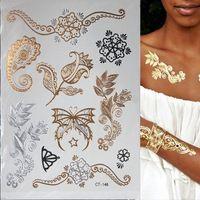 Hot Flash Металлический Водонепроницаемый Временные Татуировки Золото Серебро Татуировки Женщины Хны Цветок Taty Татуировки Стикер