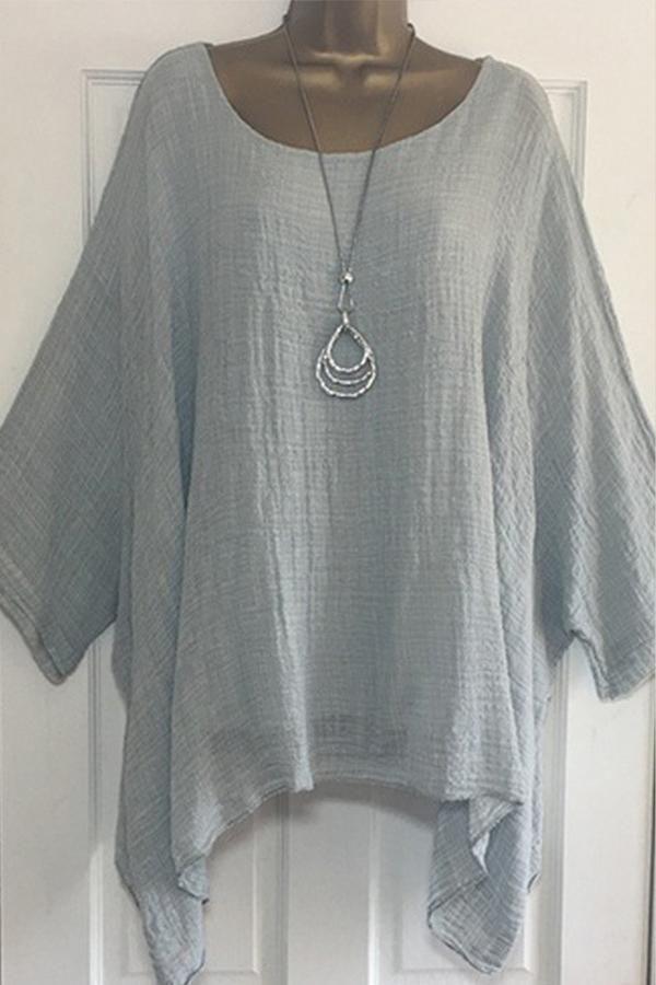 Women Summer T-Shirt Casual Plain Loose Blouse Shirt Batwing Asymmetrical Top Kr
