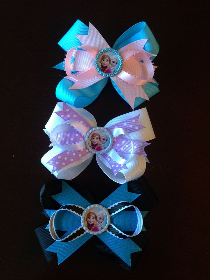 Frozen bows from rock-a-bow baby on Facebook!