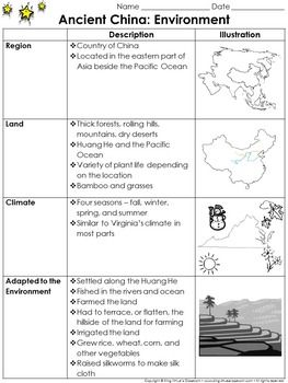 Ancient China: Environment Study Guide Outline - Environment - King Virtue's Classroom  Starting your unit on Ancient China? Help your students get off to a great start with this simple study guide outline. This is a great tool that can be used to inform your parents about what their children will be learning about Ancient China and its environment (region, land, climate, how they adapted).