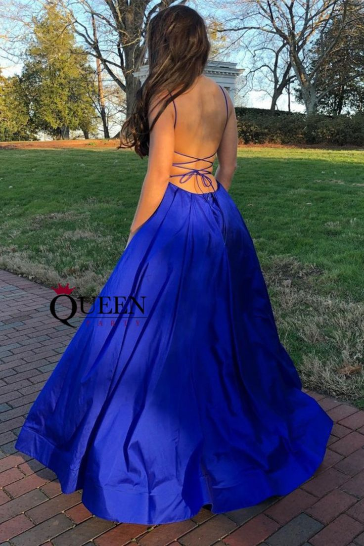 sweeping electric blue gown - 745×784
