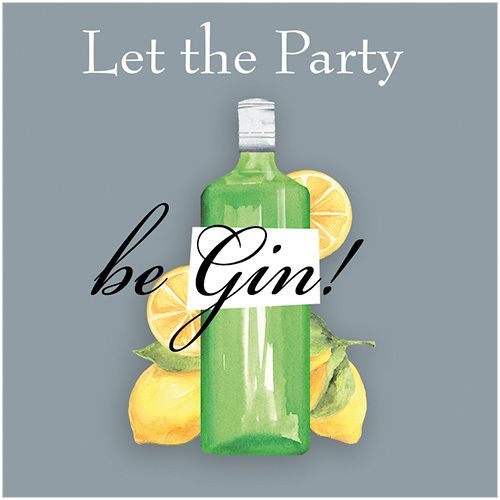 CODE: S291 PRICE: £1.75 NAME: LET THE PARTY BE GIN! Buy now: https://www.phoenix-trading.co.uk/web/km43704/area/shop-online/category/humour/product/S291/let-the-party-be-gin-new/ Presentation: With a white 100 gsm, 100% recycled, envelope. Blank for your own message Paper Type: Gloss Varnish Artist: Karen Tye Bentley Size: 5 x 5"