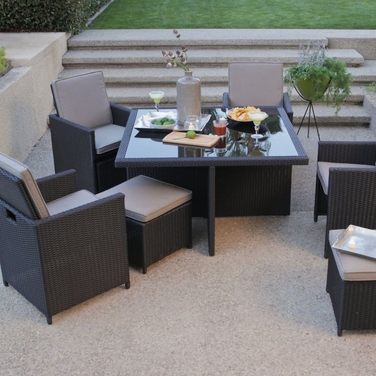 All Weather Wicker Nesting Patio Furniture Dining Set   Seats 4