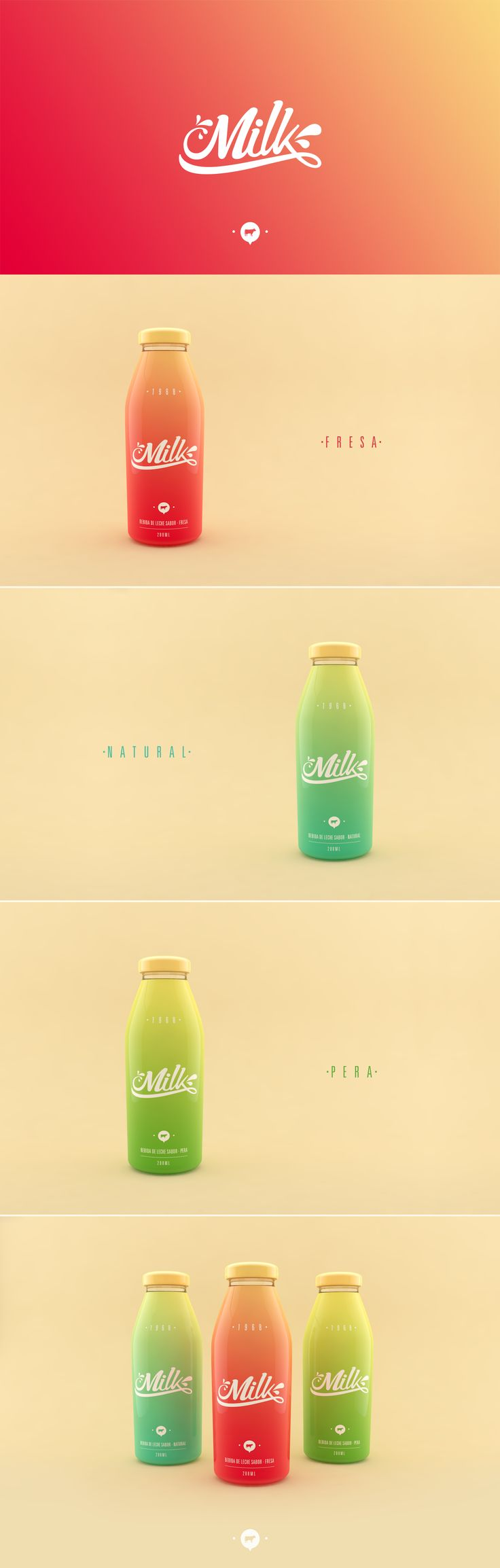 Milk on Behance by Jose Ruiz, Bogotá, Colombia. Love the colors and the gradation on this pin. Art Direction, Packaging, Typography PD