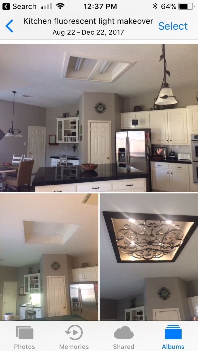 kitchen fluorescent light most popular appliance color makeover we removed old cover and then replaced with canned lighting found a wrou