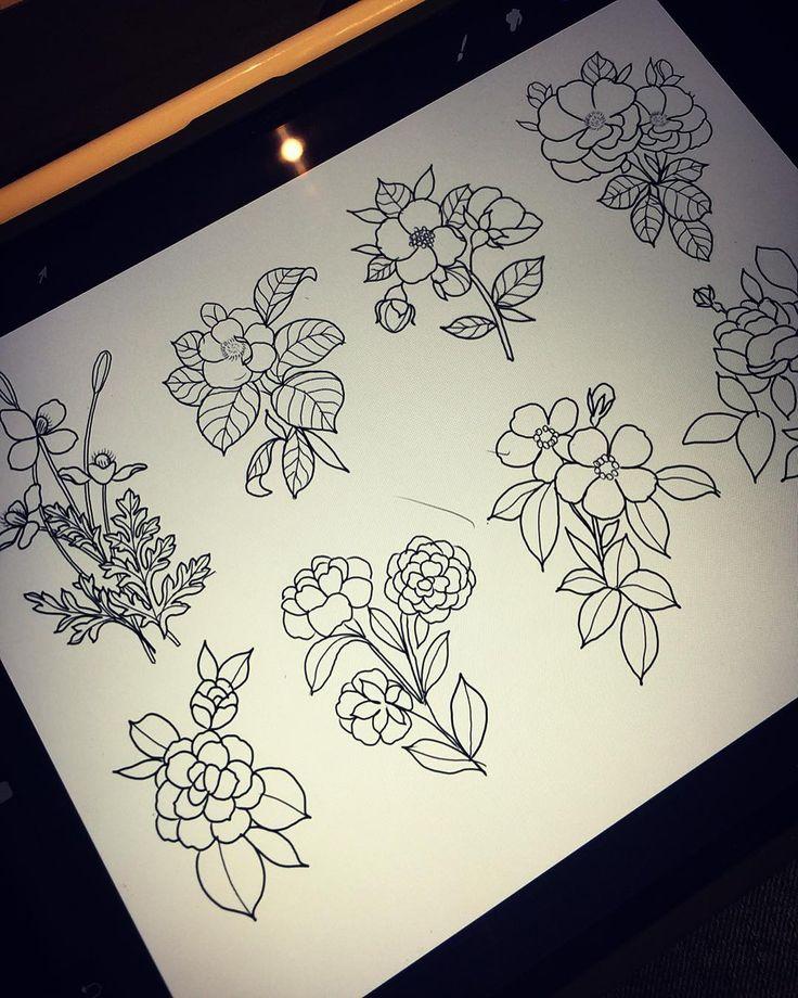 Floral tattoo flash sheet tattoo flash sheet flash