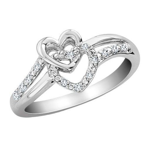 I hate promise rings with hearts in them, but this ring is pretty! Hint hint G ;)    (Diamond Double Heart Promise Ring in Sterling Sil ($200)) http://shop.artisansilvergifts.com/collections/anniversary-gifts